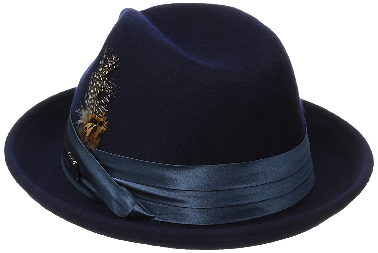 57f6abf53940a Stacy Adams Men s Crushable Wool Felt Snap Brim Fedora Hat at Amazon Men s  Clothing store