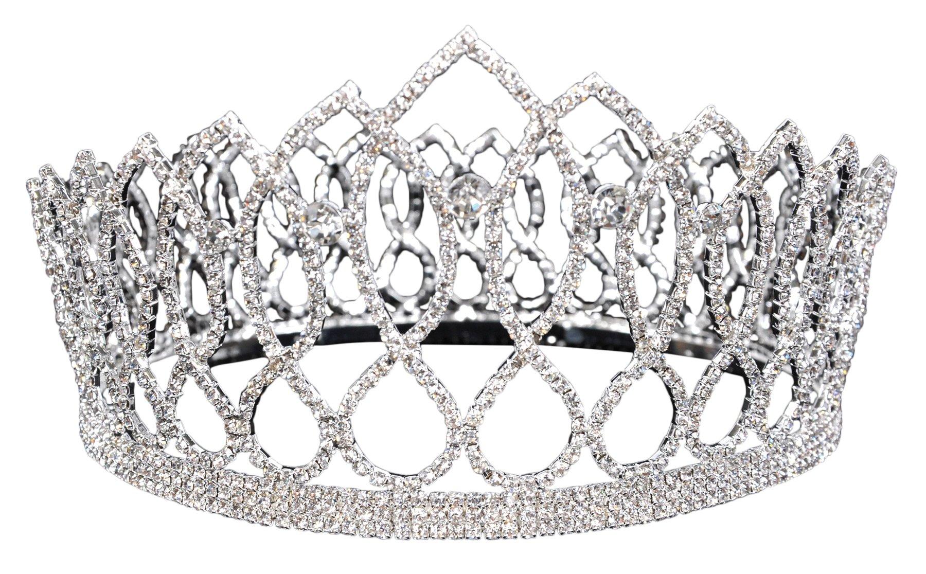 UHC King 4'' Rhinestone Heart Bridal Wedding Prom Tiara Crown Costume Accessory