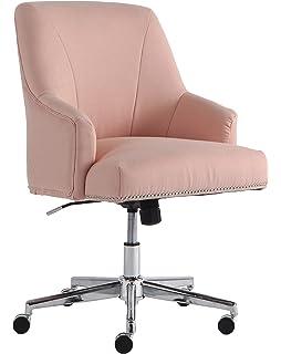 Serta Style Leighton Home Office Chair, Twill Fabric, Blush Pink