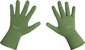 Martha Stewart Nitrile Coated All-Purpose Garden Gloves w/Non-Slip Grip, Small, Bay Leaf Green