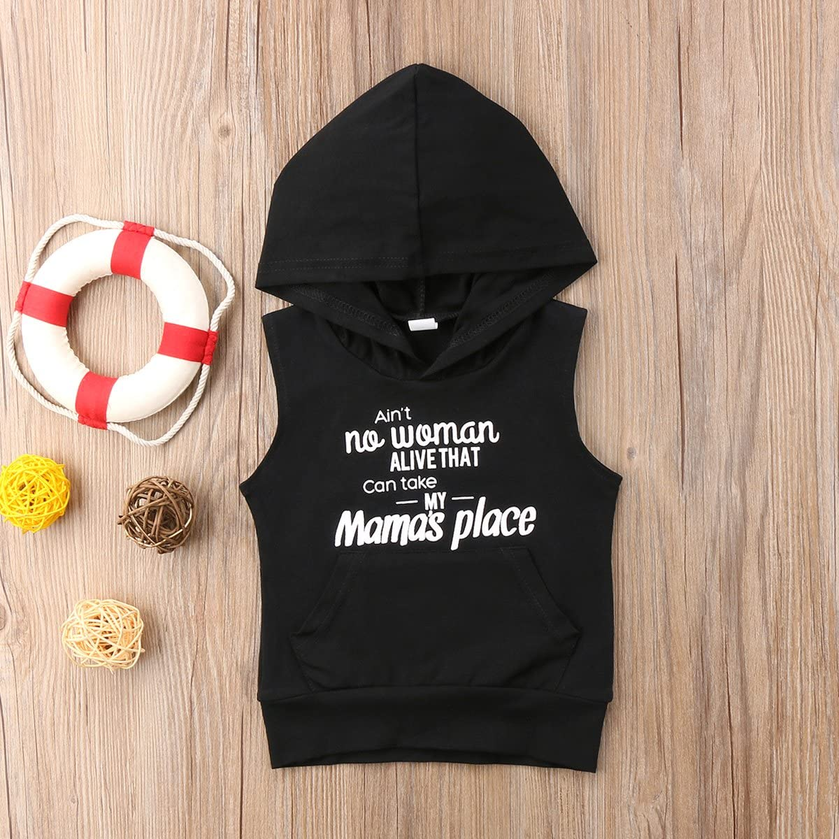 Annvivi Newborn Baby Boys Aint No Women Alive That Can Take My Mamas Place Letter Print Sleeveless Hoodie Shirt Top