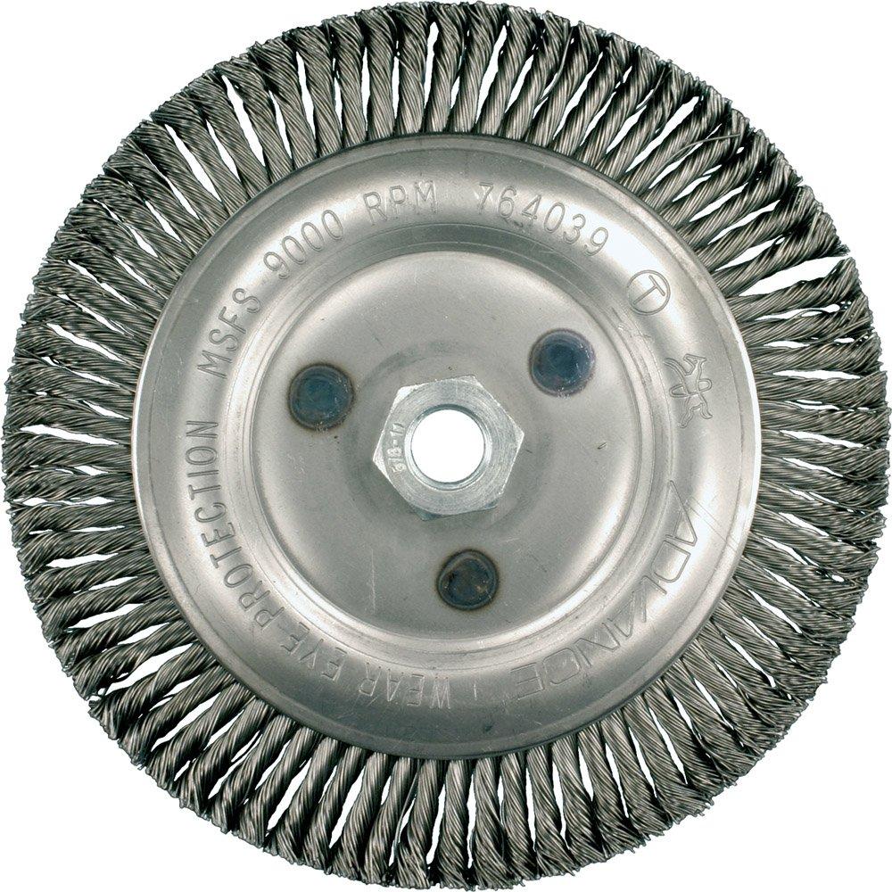 PFERD 763940 Economy Power Universal Line PS-FORTE Stringer Bead Twist Knot Wheel Brush, Threaded Hole, Carbon Steel Bristles, 4'' Diameter, 0.020'' Wire Size, 5/8''-11 Thread, 20000 Maximum RPM (Pack of 5)