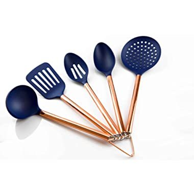 COOK With COLOR 5 Piece Navy Nylon Cooking Utensil Set on a Ring with Rose Gold Copper Handles