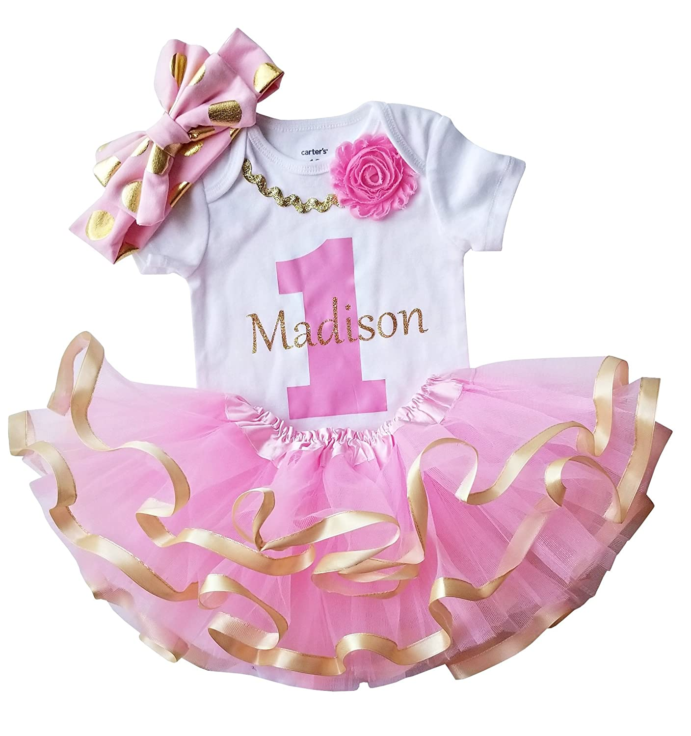 1st Birthday Girl - Pink Gold Personalized Outfit bdaygirlpinkPZ