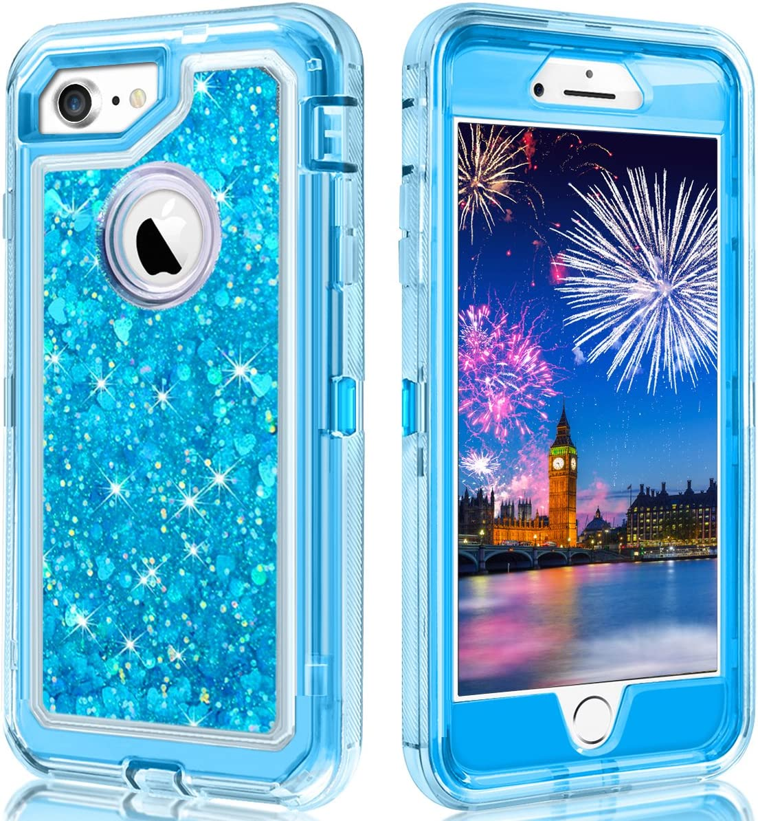 WOLLONY for iPhone SE2 Case,iPhone 8 Case,iPhone 7 Case,360 Full Body Shockproof Liquid Glitter Quicksand Bling Heavy Duty Hard Bumper Non-Slip Soft Transparent Protective for iPhone SE2 8 7 6 Blue