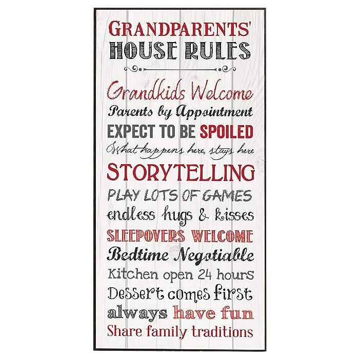 P. Graham Dunn Grandparents House Rules Inspirational Wooden Decorative Wall Art Plaque