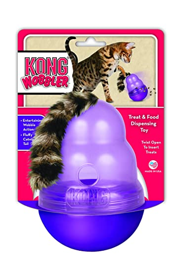 Amazon Com Kong Cat Wobbler Treat Dispensing Toy Purple Pet