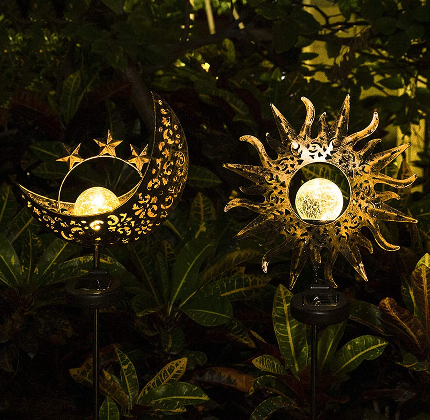 Solar Lights Outdoor Decorative - 2 Pack Garden Decor Waterproof Metal Sun Moon Stakes Lights Garden Art Crackle Glass Globe Lights for Patio,Yard,Lawn, Pathway (Sun Moon)