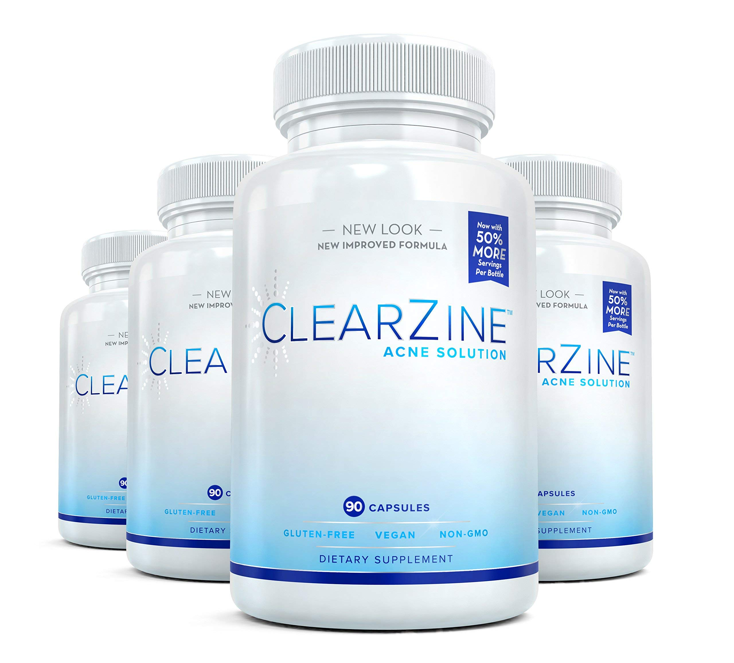ClearZine Acne Pills for Teens & Adults | Clear Skin Supplement, Vitamins for Hormonal & Cystic Acne | Stop Breakouts, Oily Skin with Milk Thistle, Pantothenic Acid & Zinc, 4 Bottles, 90 Caps Each
