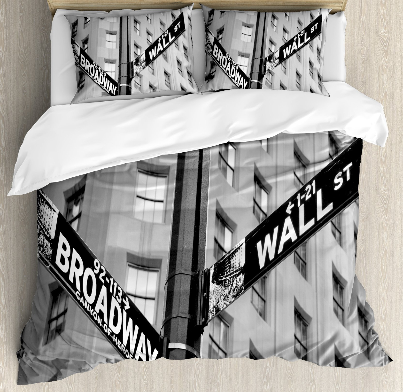 NYC Decor Duvet Cover Set by Ambesonne, Street Signs of intersection of Wall Street and Broadway Finance Art Destinations Photo, 3 Piece Bedding Set with Pillow Shams, Queen / Full, Black and White by Ambesonne