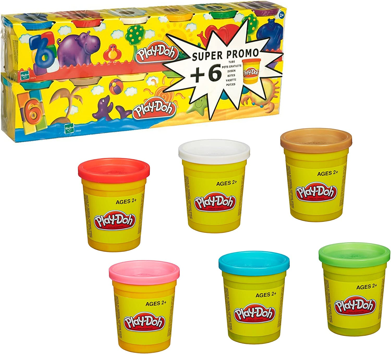 Hasbro Play-Doh - Pack 6 + 6 Botes de plastilina 23023186: Amazon ...