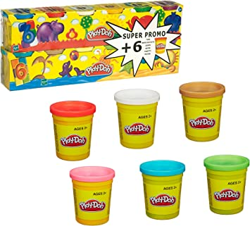 Hasbro Play-Doh - Pack 6 + 6 Botes de plastilina 23023186: Amazon.es: Juguetes y juegos