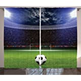 Ambesonne Sports Curtains, Soccer Ball on Stadium Arena in The Night Fans Cheering Green Field, Living Room Bedroom…