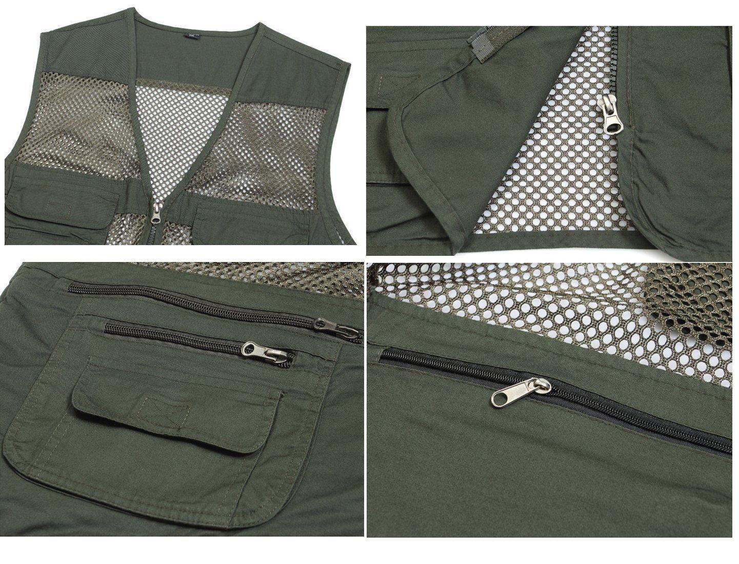 Mens Mesh Fishing Vest Photography Work Multi-Pockets Outdoors Journalists Vest Sleeveless Jacket
