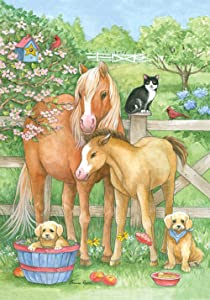 Toland Home Garden Pasture Pals 28 x 40 Inch Decorative Spring Flower Country Farm Animal Horse Dog Cat House Flag