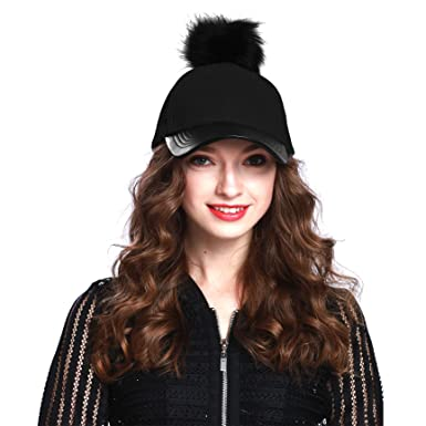 black fur baseball hat amal clooney faux pom cap women