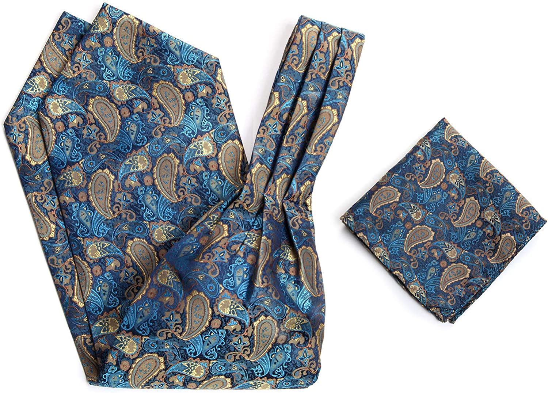 HISDERN Men/'s Paisley Floral Ascot Tie Jacquard Woven Silk Cravat