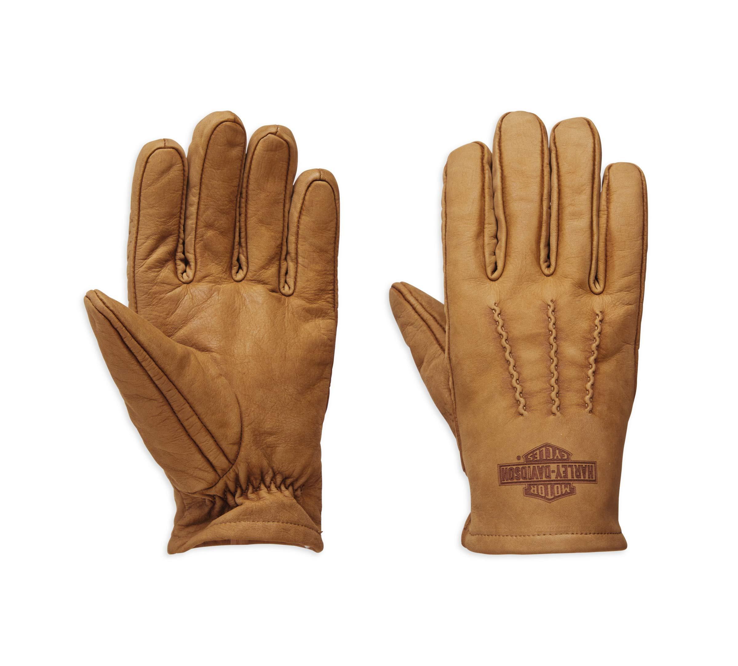 Harley-Davidson Official Men's Peshtigo Leather Gloves, Brown (Large)