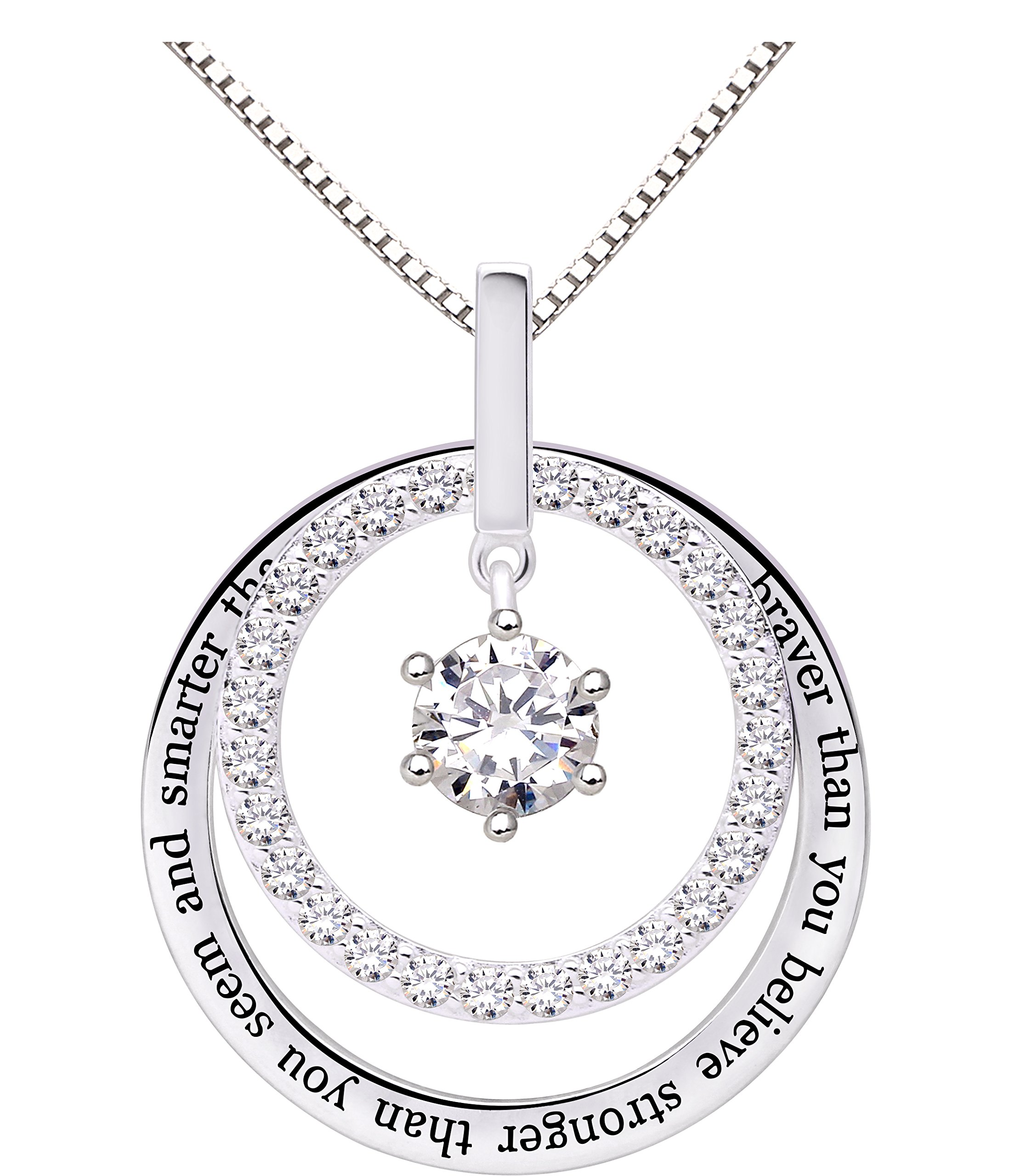 ALOV Jewelry Sterling Silver You are Braver Than You Believe Stronger Than You Seem and Smarter Than You Think Cubic Zirconia Pendant Necklace