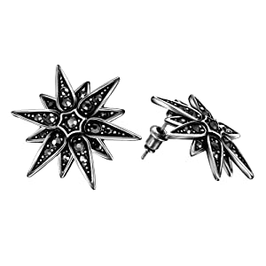 Buycitky Antique Silver Geometric Crystal Diamond Stud Earrings for Women Fashion Black Punk Earrings with PU Jewelry Pouch