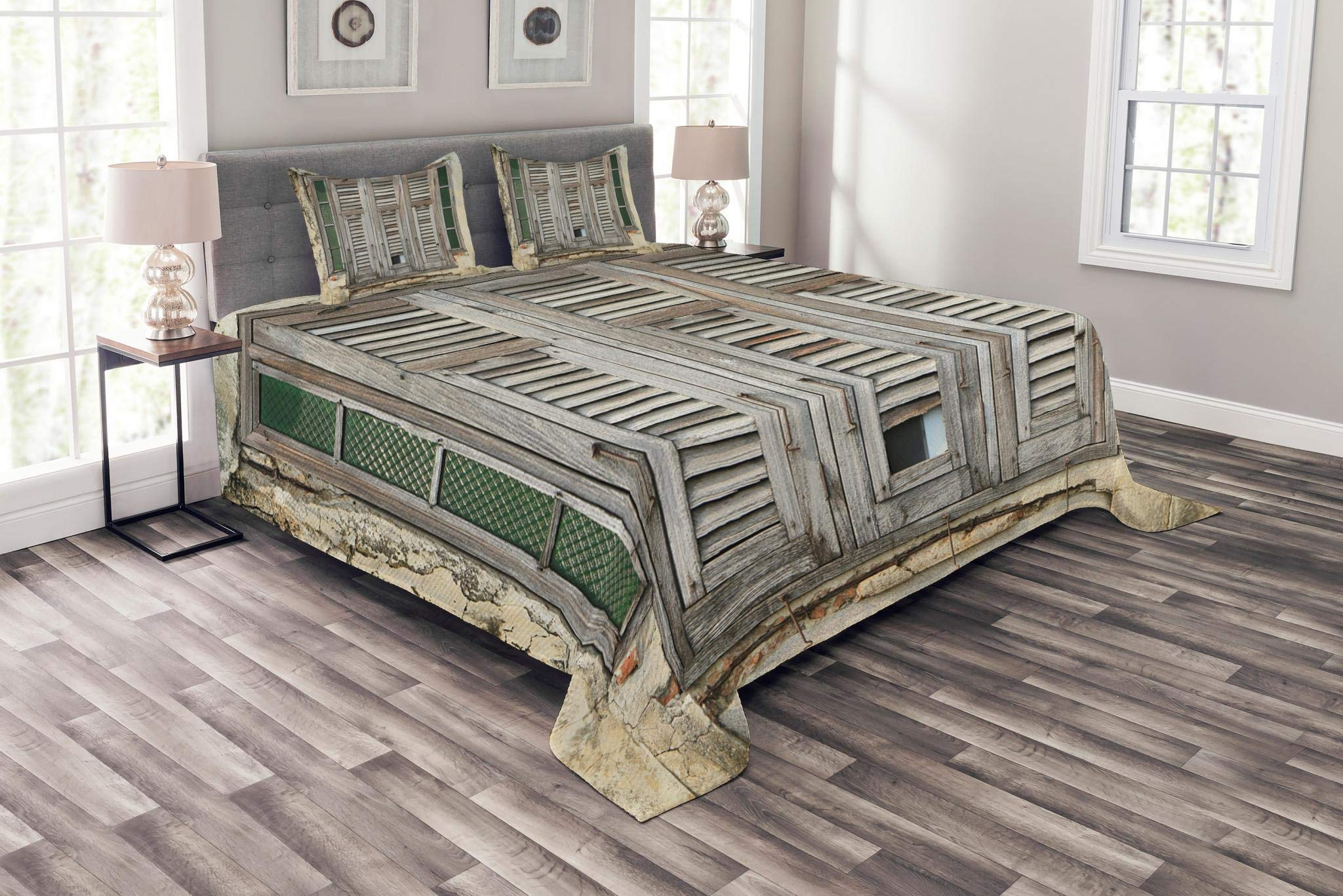 Lunarable Shutters Bedspread Set Queen Size, Aged Weathered Wooden Window Blinds Rough Cracked Wall in Vintage Rustic Style, Decorative Quilted 3 Piece Coverlet Set with 2 Pillow Shams, Beige Green