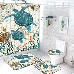 Sea Turtle Shower Curtain with Non-Slip Rugs Toilet Lid Cover and Bath Mat, Ocean Creature Landscape Bathroom Curtain with 12 Hooks Durable Waterproof Fabric Shower Curtain Sets