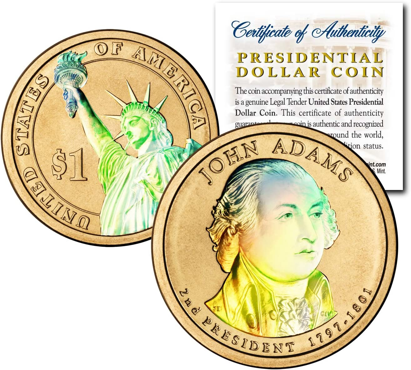 REVERSE SIDE OF A PRESIDENTIAL DOLLAR COLORIZED STATUE OF LIBERTY