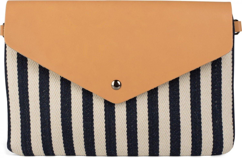 styleBREAKER Bolso de Mano Clutch en Estilo de sobre con Apariencia a Rayas Marinera con Motivo de Espinas de Pescado, Bolso de Bandolera, Bolso, de señora 02012153, Color:Azul Oscuro-Beige