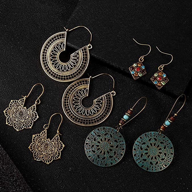 Foxishop 1 Pair Women Ladys Bohemian National Style Hollow Out Water Drop Shape Hook Earrings Eardrop Fashion Jewelry
