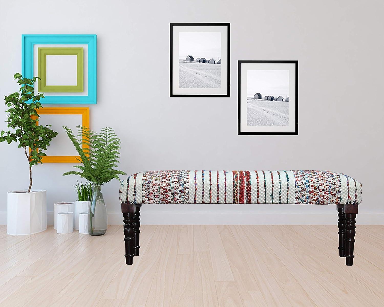 Amazon Com Lr Home Colorful Chevron And Striped Chindi Bench 1 6 X 3 11 X 1 4 Multi Furniture Decor