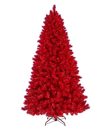 6 Ft Ashley Red Artificial Christmas Tree With Red Lights Amazon