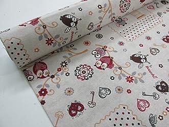 Confección Saymi Metraje 0,50 mts tejido loneta estampada Ref. Buhos Peque con ancho 2,80 mts.