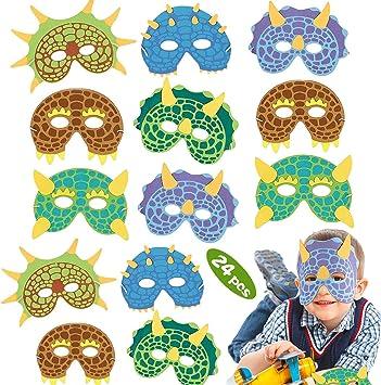 WENTS Máscaras para Fiestas de Dinosaurios 24 Pack Máscaras de ...
