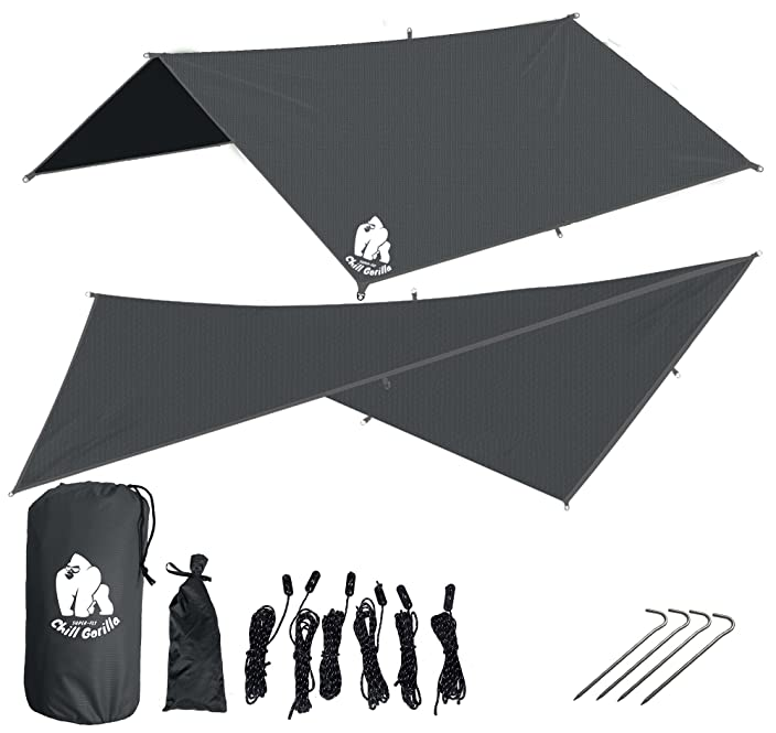 "Chill Gorilla 10x10 Hammock Waterproof Rain Fly Tent Tarp 170"" Centerline. Ripstop Nylon & Not Cheap Polyester Cover. Stakes Included. Survival Gear Backpacking Camping Accessories"