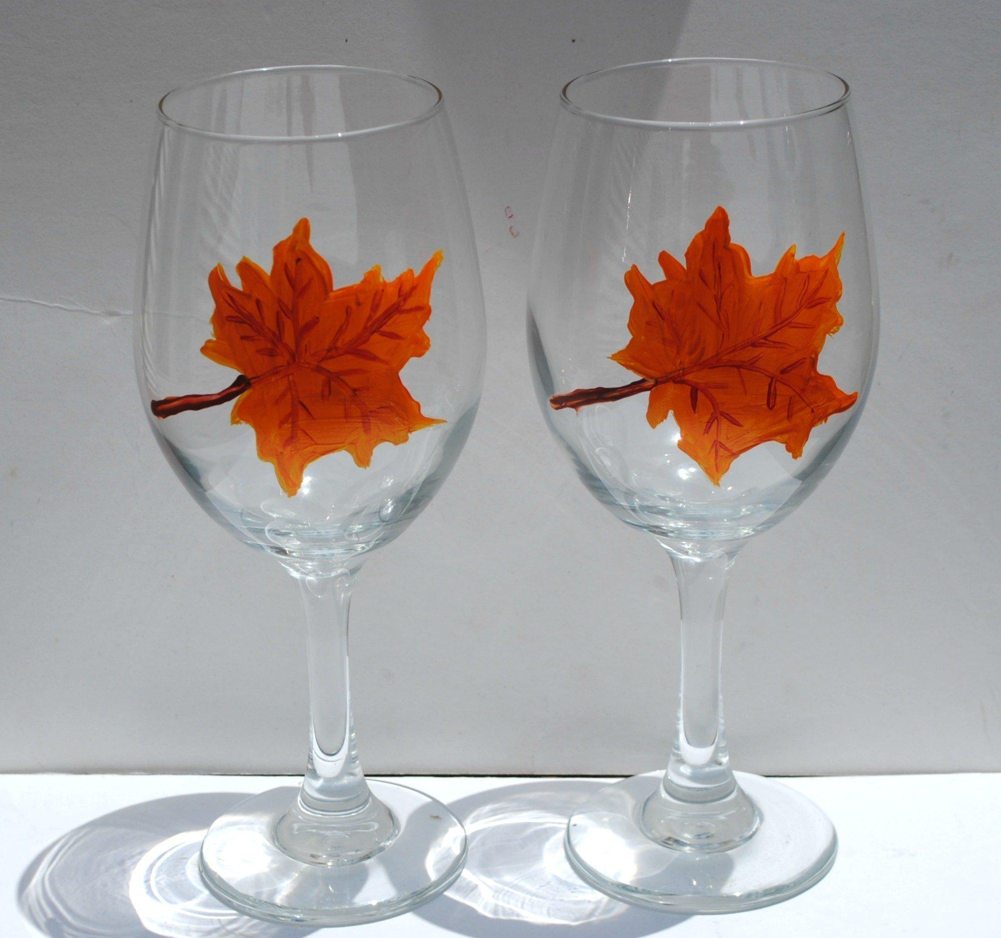 Hand Painted Orange Maple Leaf Stemmed Wine Glasses Set of 2