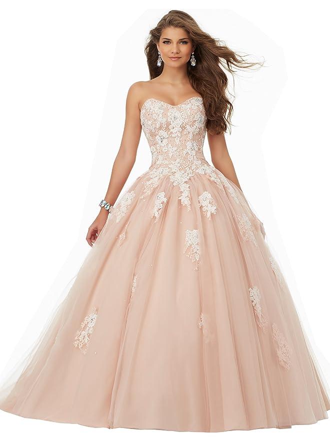 ec897640b6b8 Amazon.com: YORFORMALS Women's Strapless Evening Ball Gown Sweetheart Prom  Dresses Long: Clothing