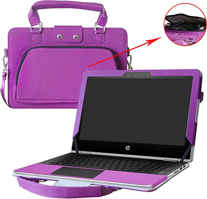 """Labanema Pavilion x360 11 Case,2 in 1 Accurately Designed Protective PU Cover + Portable Carrying Bag for 11.6"""" HP Pavilion x360 11 11m-ad000 / 11-ad000 Series Laptop,Purple"""