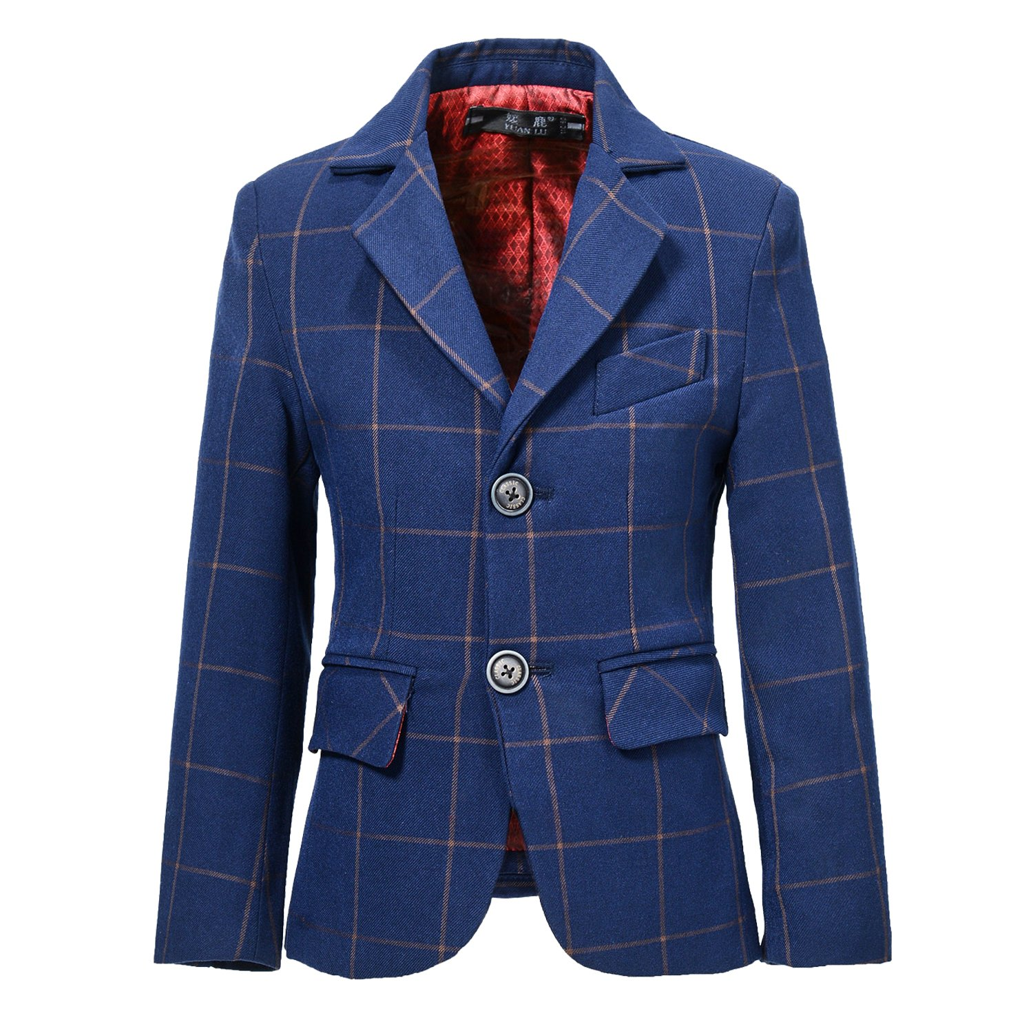 YuanLu Boys Plaid Tuxedo Suits Kids Outfit Jacket For Weddings Size 12 Navy Blue