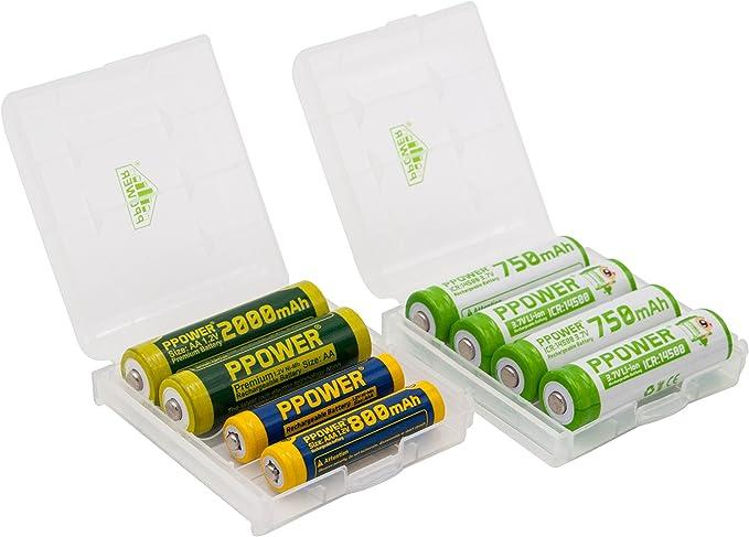 2 x ppower batería caja para 4 Alkaline NiMH NiCd AA o AAA Baterías o 14500 Ion de litio Pilas: Amazon.es: Electrónica