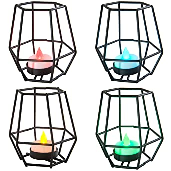 Geométrico decorativo de color negro cesta jaula Tealight vela ...