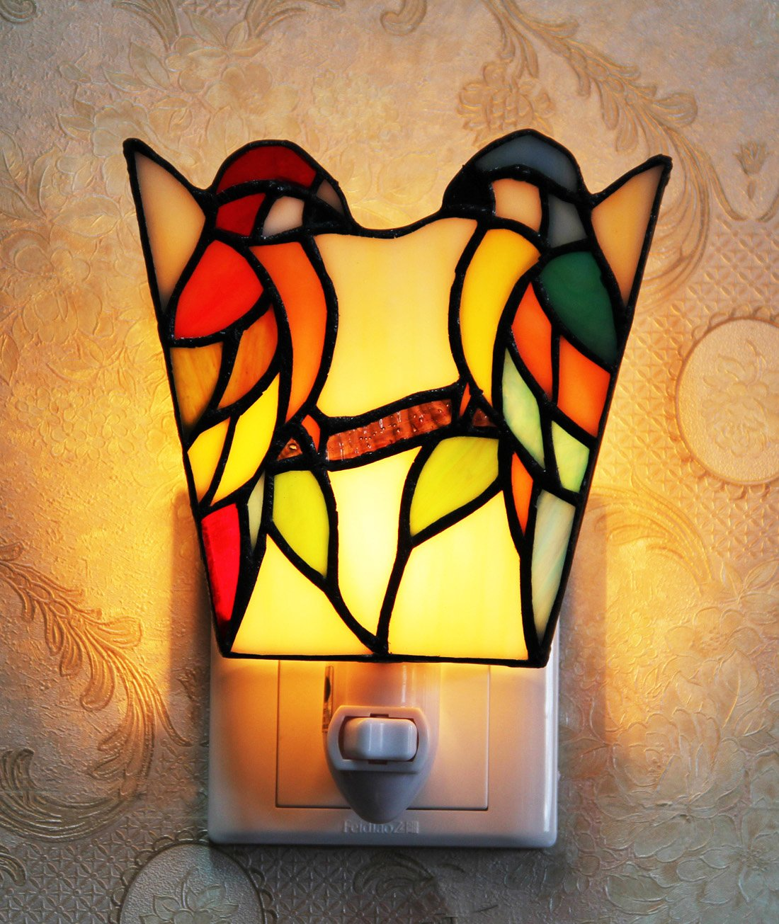 Makenier Tiffany Style Stained Glass Double Parrots Small Wall Lamp Night Light by Makenier