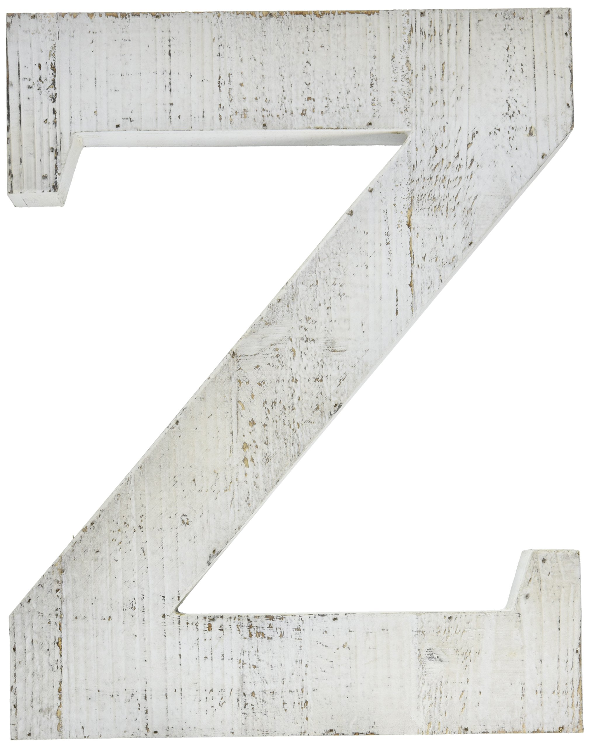 ADECO Trading Adeco Wooden Hanging Wall Letters''Z'' - White Decorative Wall Letter of Living Room, Baby Name and Bedroom Decor, Whitewash