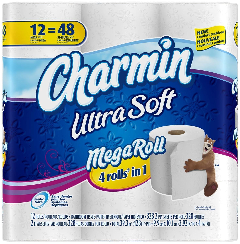 Amazon.com: Charmin Ultra Soft Toilet Paper 12 Mega Rolls = 48 ...