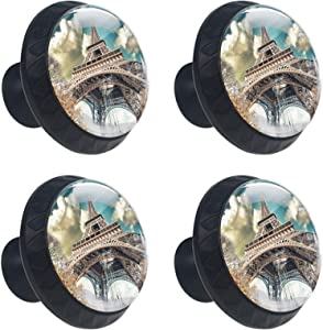 4pcs Drawer Knob Pull Handle Wonderful Street View of Paris Eiffel Tower and Winter Vegetation Pulls Cupboard Knobs with Screws for Home Office Dresser Furniture Wardrobe Handles 35mm