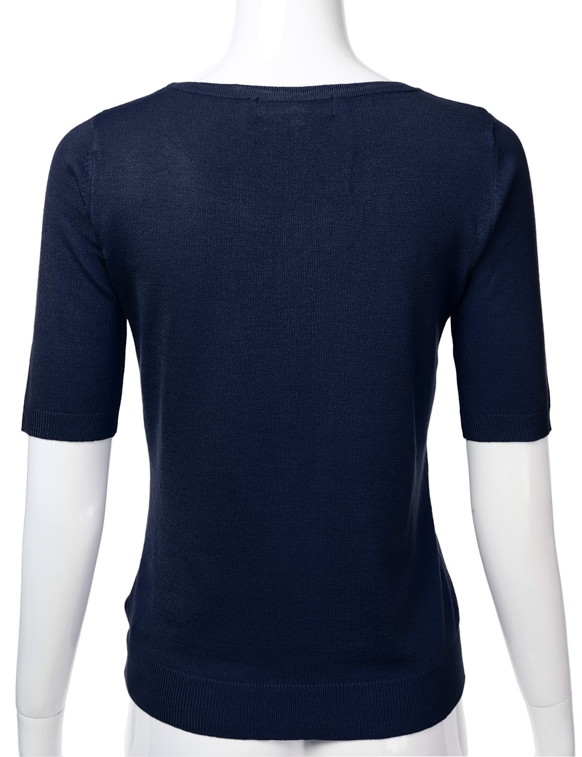 FLORIA Womens Button Down Fitted Short Sleeve Fine Knit Top Cardigan Sweater Navy L by FLORIA (Image #3)