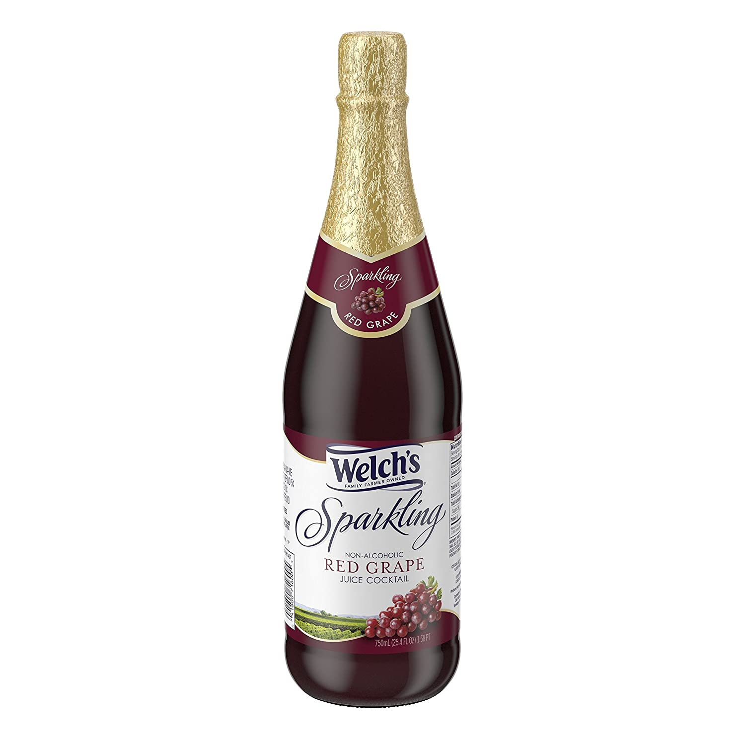 Welch's Sparkling Juice Cocktail, Non-Alcoholic, Red Grape, 25.4 Ounce (Pack of 12)
