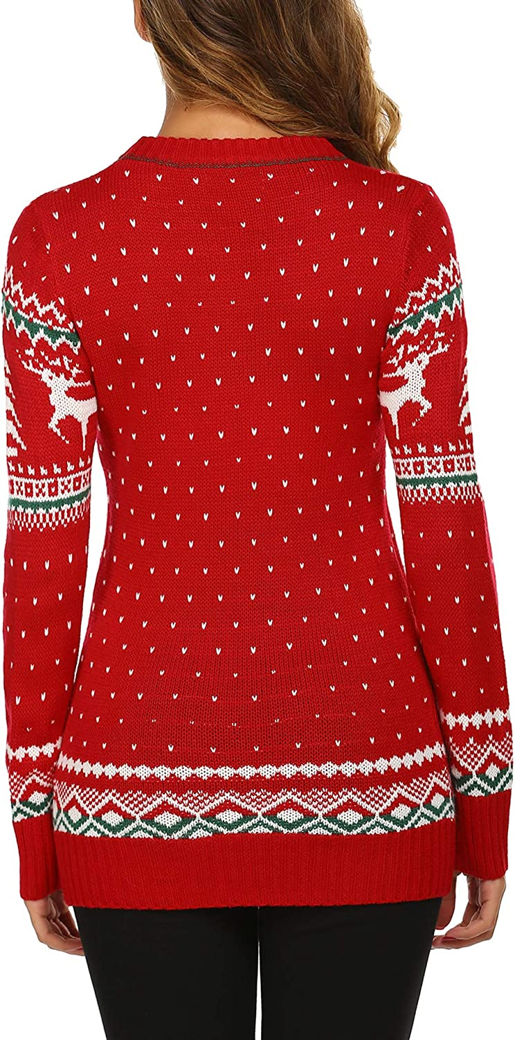 UNibelle Womens Ugly Christmas Sweater Patterns Reindeer Pullover Jumper,S-XXL