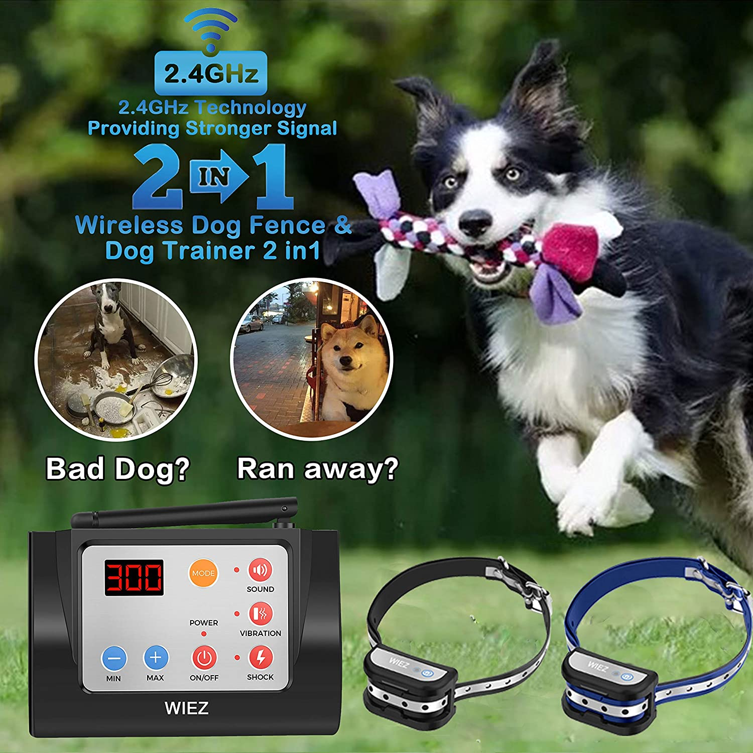 WIEZ Dog Fence Wireless & Training Collar Outdoor 2-in-1, Electric Wireless Fence w/Remote, Adjustable Range, Waterproof, Reflective Stripe, Harmless for All Dogs