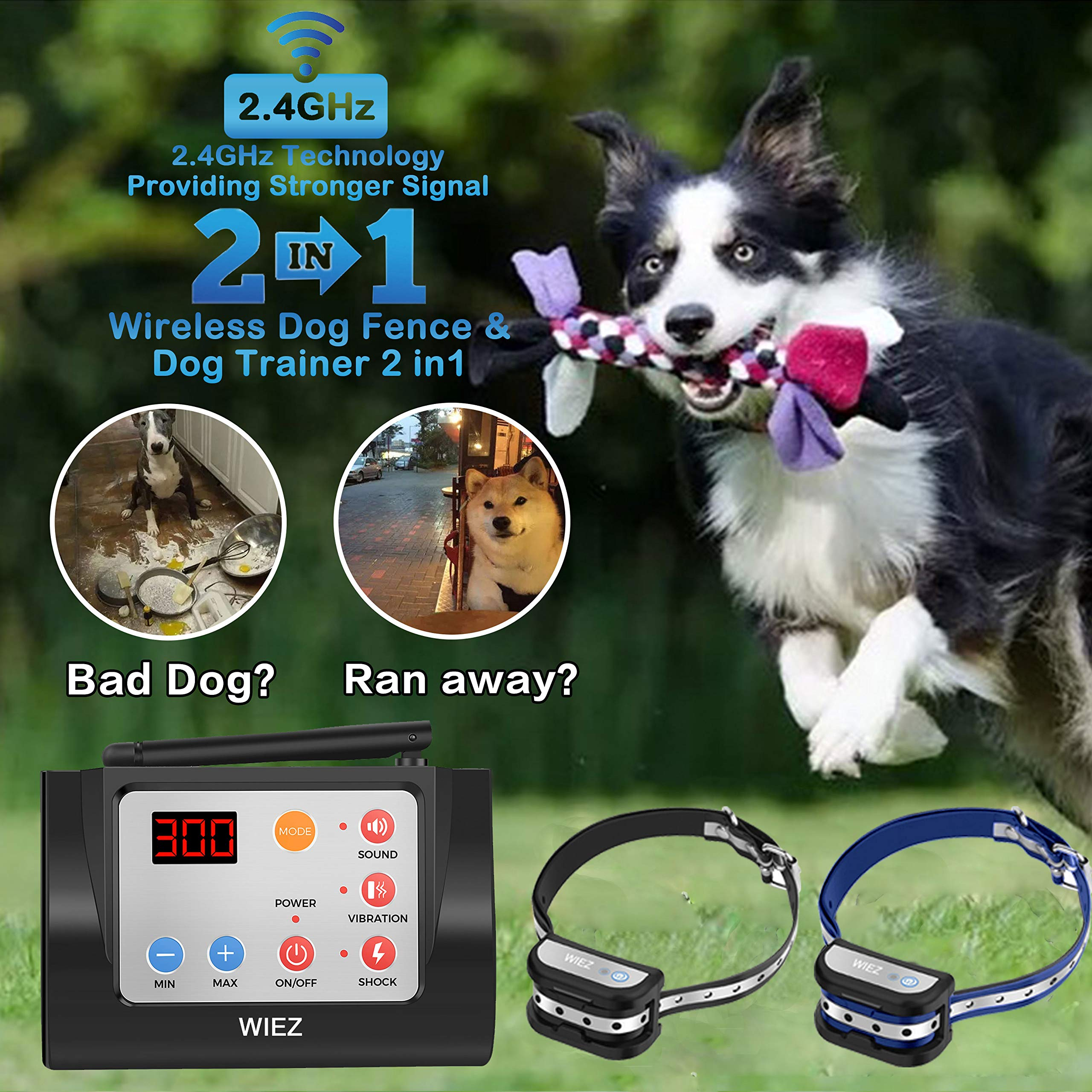WIEZ Dog Fence Wireless & Training Collar Outdoor 2-in-1, Electric Wireless Fence for Dogs w/Remote, Adjustable Range Control, Waterproof Reflective Stripe Collar, Harmless for All Dogs- 2 Collars by WIEZ