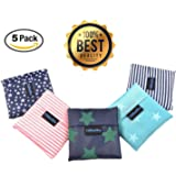 "Folding Reusable Grocery Bags 5 Pack - 21.6""x13.8"" Capacity – Washable, Waterproof Nylon holds Heavy Groceries – Foldable Tote Bag is 4.3""x 4.3"" Folded – Eco-Friendly Shopping Bag fits in Pocket"